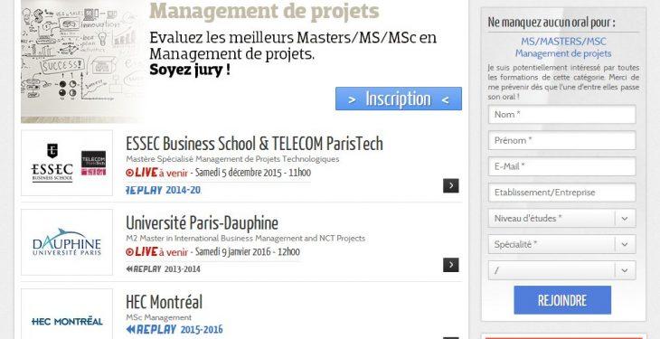 Campus Channel pour évaluer des MS/Masters/MSc Management de projets 40