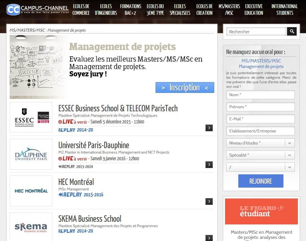 Campus Channel pour évaluer des MS/Masters/MSc Management de projets 2