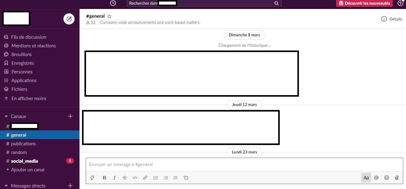 l'outils collaboratif Slack