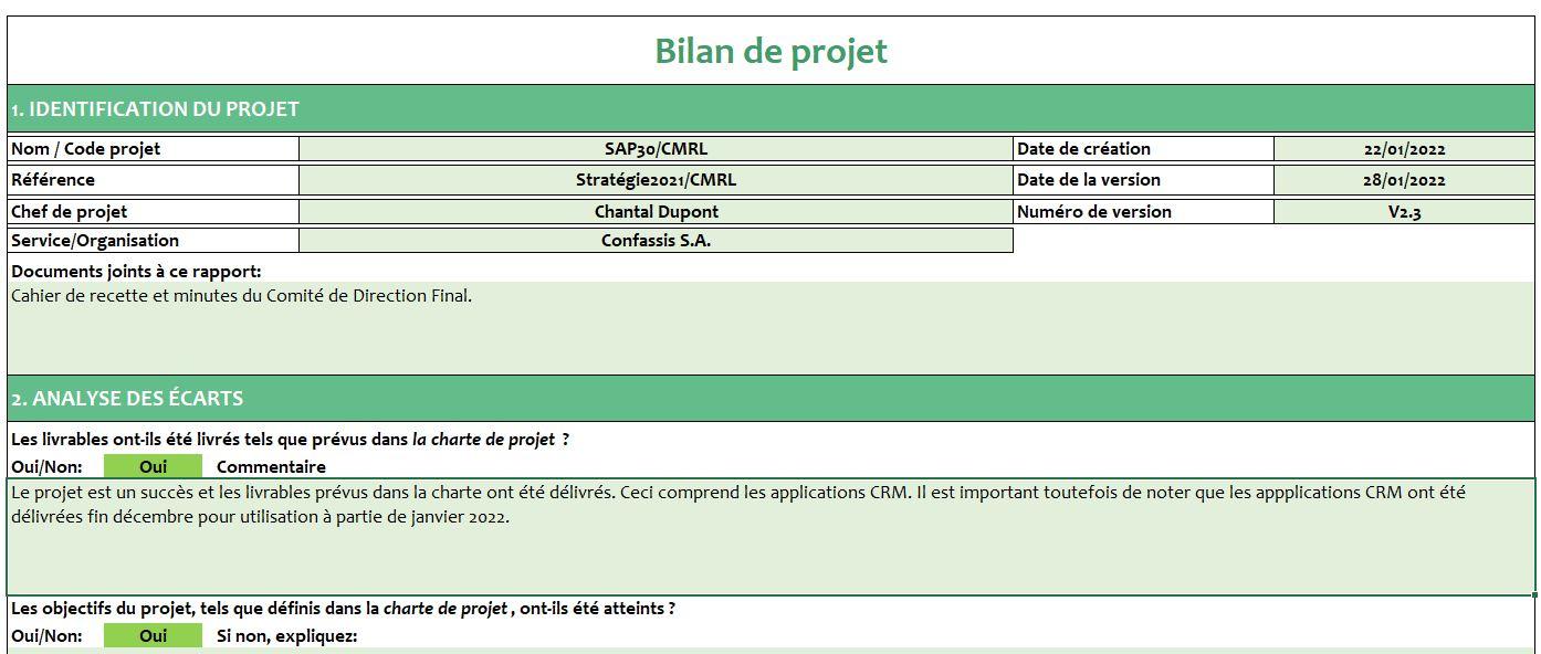 Bilan de projet